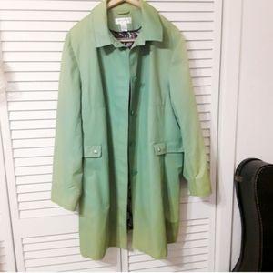Preston & York Plus Size Green Raincoat/Trenchcoat